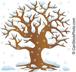 Tree without leaves in winter covered with snow and snowflakes, cartoon on white background,