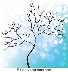 Winter snow background, tree without leaves, Christmas