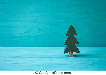 Tree wooden on green background