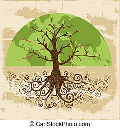 Tree globe map concept with curly roots . Vector file layered for easy manipulation and custom coloring.