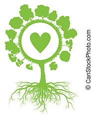 Tree world globe ecology vector background concept with roots and heart for poster