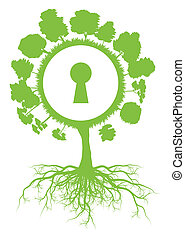 Tree world globe ecology vector background concept with roots and keyhole for poster