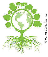 Tree world globe ecology vector background concept with roots