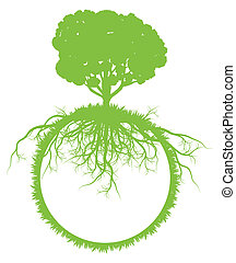 Tree world globe ecology vector background concept with...
