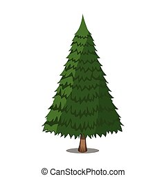 Tree XMas icon. Cartoon style. Vector Illustration for Christmas day