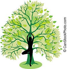 Silhouette of girl, standing in tree yoga pose