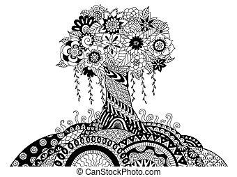 Henna Doodle Tree Vector Illustration Art Vectors