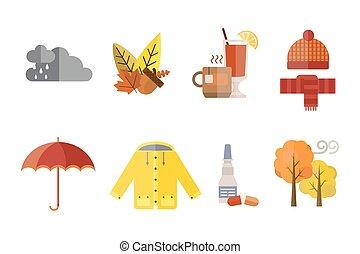 treeclouds, écharpe, ensemble, parapluie, chapeau, jaune, chauffé, chaussettes, automne, manteau, temps, vecteur, illustration, bottes, automne, gants, froid, vin, parka, vêtements rouges