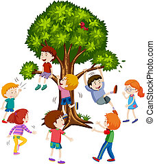 treee, 上昇, 白, 子供, 背景