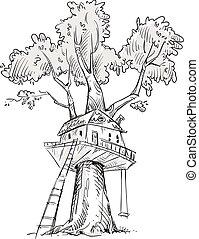Treehouse. Hand drawn. - Treehouse. Hand drawn, vector ...