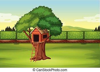 Treehouse in park scene illustration