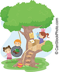 Treehouse Kids - Illustration of Kids Playing in a Treehouse