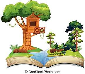 treehouse, par, les, rivière, sur, a, livre