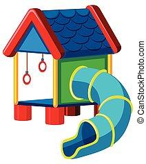 treehouse with slide playground illustration