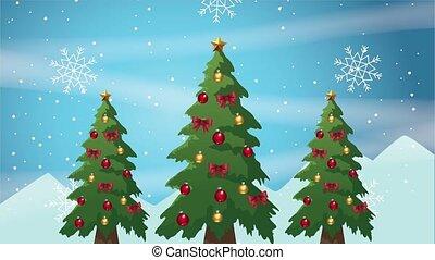 trees, веселый, счастливый, карта, pines, рождество