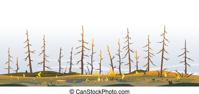 Trees after forest fire nature illustration