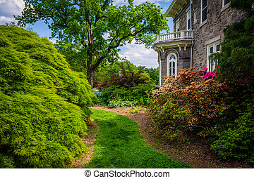 Trees and bushes behind the Cylburn Mansion at Cylburn Arboretum, Baltimore, Maryland