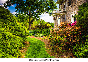 Trees and bushes behind the Cylburn Mansion at Cylburn...