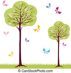 trees and butterflies