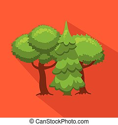 Trees and fir in nature. Hunting season. Flat, cartoon style.