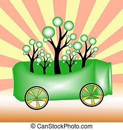 trees and green aluminium cans ,green concepts ,vector illustrat