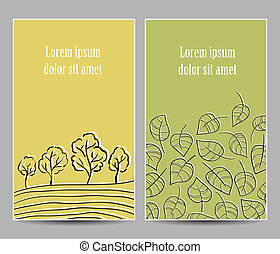 Trees and leaves cards - Illustration of tree alley and...