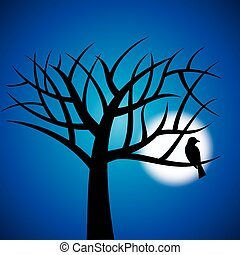 trees and moon Halloween background