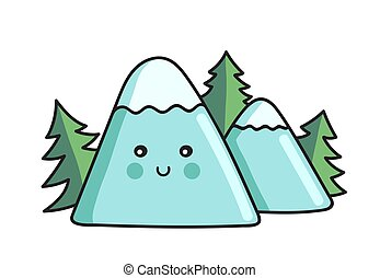 Trees and mountains. Kawaii cartoon character with a cute face.