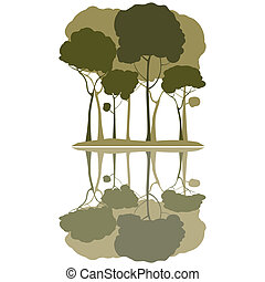 Trees and reflection, clip art illustration