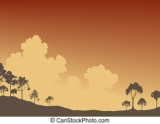 Editable vector illustration of tree silhouettes and sky