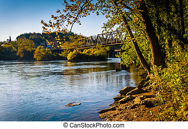 Trees and train bridge over the Potomac River in Harper's Ferry, West Virginia.