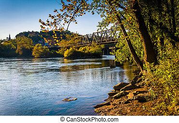 Trees and train bridge over the Potomac River in Harper's...