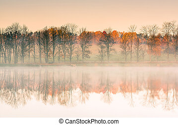 Trees at lake egde reflect in water with autumn colors