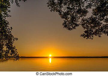 Trees at sunrise on a small lake