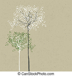 Trees background. The trunk and leaves in separate layers. ...
