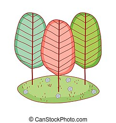 trees botanical cartoon isolated icon design