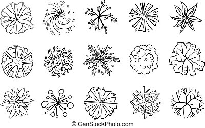 Trees, bushes and shrubs, top view for landscape design plan. Vector illustration, isolated on white background.