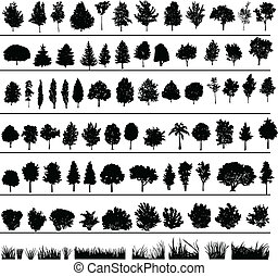 Set of silhouettes of trees, bushes and grass