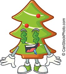 Trees cookies with Money eye cartoon character design