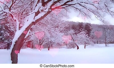 Beautiful hearts hovers in winter landscape