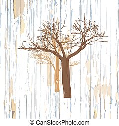 Trees drawing on wooden background