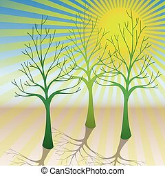 Illustration of the trees and the sun as a symbol of ecology.