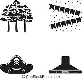Trees, flags and other web icon in black style. pirate hat, kitchen hood icons in set collection.
