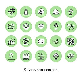 Trees flat line icons set. Plants, landscape design, fir tree, succulent, privacy shrub, lawn grass, flowers vector illustrations. Thin signs for garden store