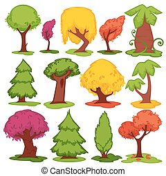 Trees flat vector icons coniferous, deciduous cartoon set