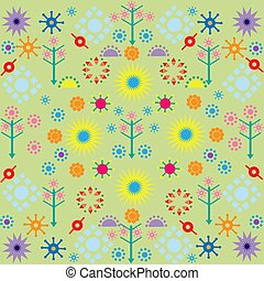 trees flowers patterns colored symbols ornament on green background