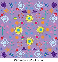 trees flowers patterns colored symbols ornament on lilac background