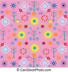 trees flowers patterns colored symbols ornament on pink background