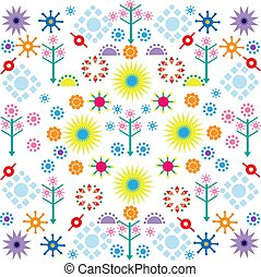 trees flowers patterns colored symbols ornament on white background