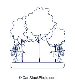 trees foliage nature botanical leaves isolated icon design line style